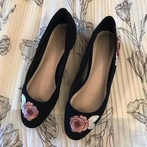 Kelly & Katie Embroidered Black Suede Shoe